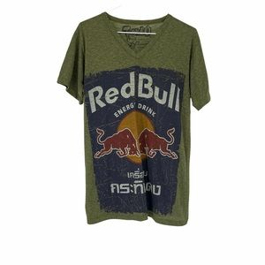 Red Bull T & O cotton green vneck tshirt bulls